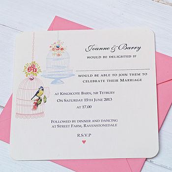'Vintage Birdcages' Wedding Invitation