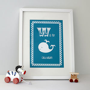 Personalised Baby's Whale Print - gifts under £25