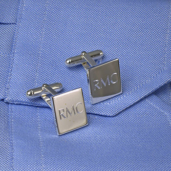 engraved square cufflinks.
