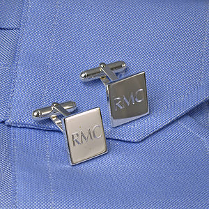 Personalised Square Silver Cufflinks - cufflinks