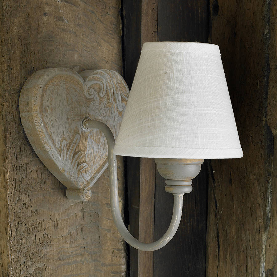 Rustic French Wall Lights : french grey wall light with ivory shade by dibor notonthehighstreet.com