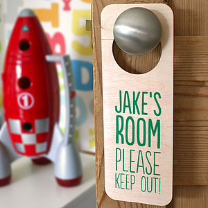 Personalised Wooden Door Hanger - baby & child