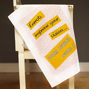 'Carrots Improve Your Vision' Tea Towel