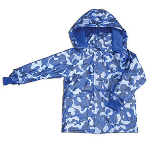 Childrens Raincoat In Blue Camo Design