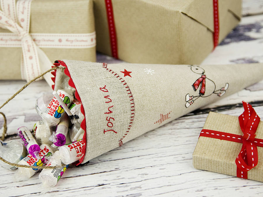 Personalised Christmas Sweetie Cone By Elm Tree Studio
