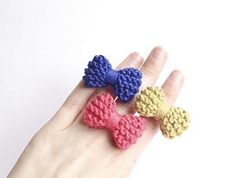 Blue, Chartreuse, Pink Knitted Bow Ring