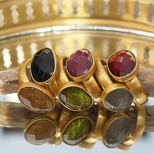 24K Gold Plated Jewel Rings - rings