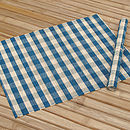 Checked Bamboo Placemat, Blue