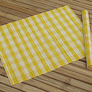 Checked Bamboo Placemat, Yellow