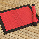 Spilt Bamboo and Cotton Placemats, Red