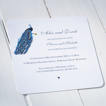 Blue Peacock Wedding Personalised Invitation