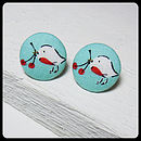 Robin Fabric Button Earrings