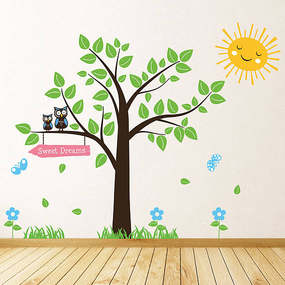 Tree with owls and butterflies wall stickers by parkins for Bird and owl tree wall mural set