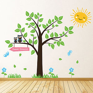 Tree With Owls And Butterflies Wall Stickers - wall stickers