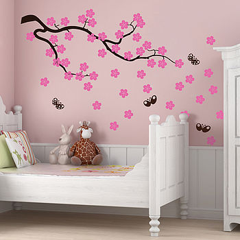 Cherry blossom branch wall stickers by parkins interiors - Sticker chambre bebe fille ...