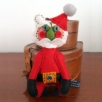 Heirloom Santa Handmade Felt Bear