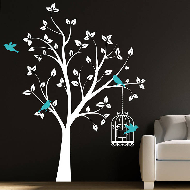tree with bird cage wall stickers by parkins interiors tree branch with bird cage wall sticker for living area