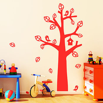 Tree With Bird House Wall Stickers