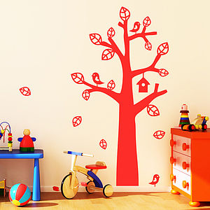 Tree With Bird House Wall Stickers - wall stickers