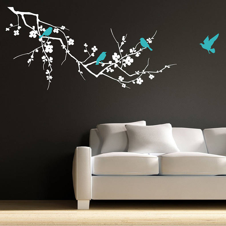 Birds on branch wall stickers by parkins interiors - Wall sticker ideas for living room ...