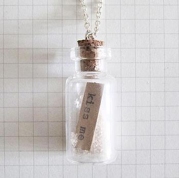 Message Bottle Necklace Kiss Me