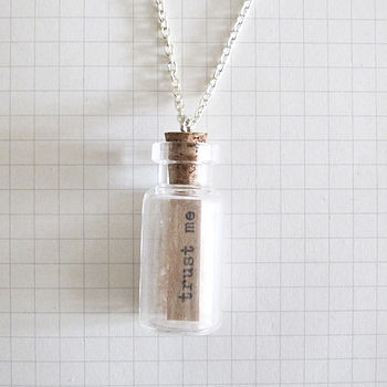 Message Bottle Necklace Trust Me