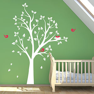 Tree With Birds Nest And Birds Wall Sticker