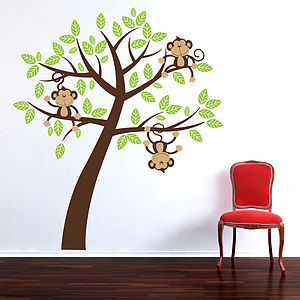 Childrens Cheeky Monkey Tree Wall Stickers - decorative accessories