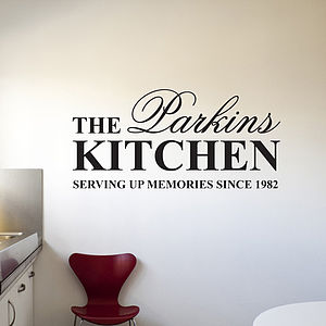 Personalised 'Kitchen' Wall Stickers - bedroom
