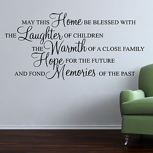 May This Home Be Blessed Wall Stickers Quote - bedroom