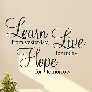 'Learn Live Hope' Wall Stickers Quotes - bedroom