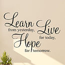 'Learn Live Hope' Wall Stickers Quotes
