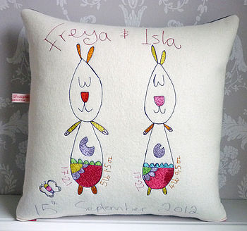Personalised New Baby Twins Cushion