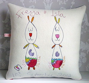 Personalised New Baby Twins Cushion - nursery cushions