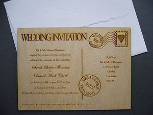 Wooden Postcard Invitation
