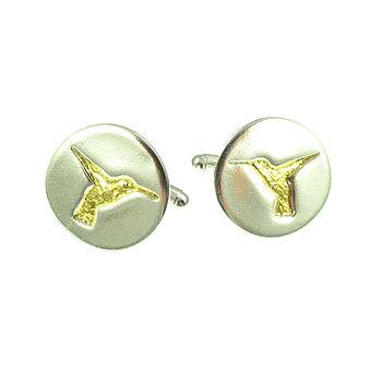 Hummingbird Gold Inlay Silver Cufflinks