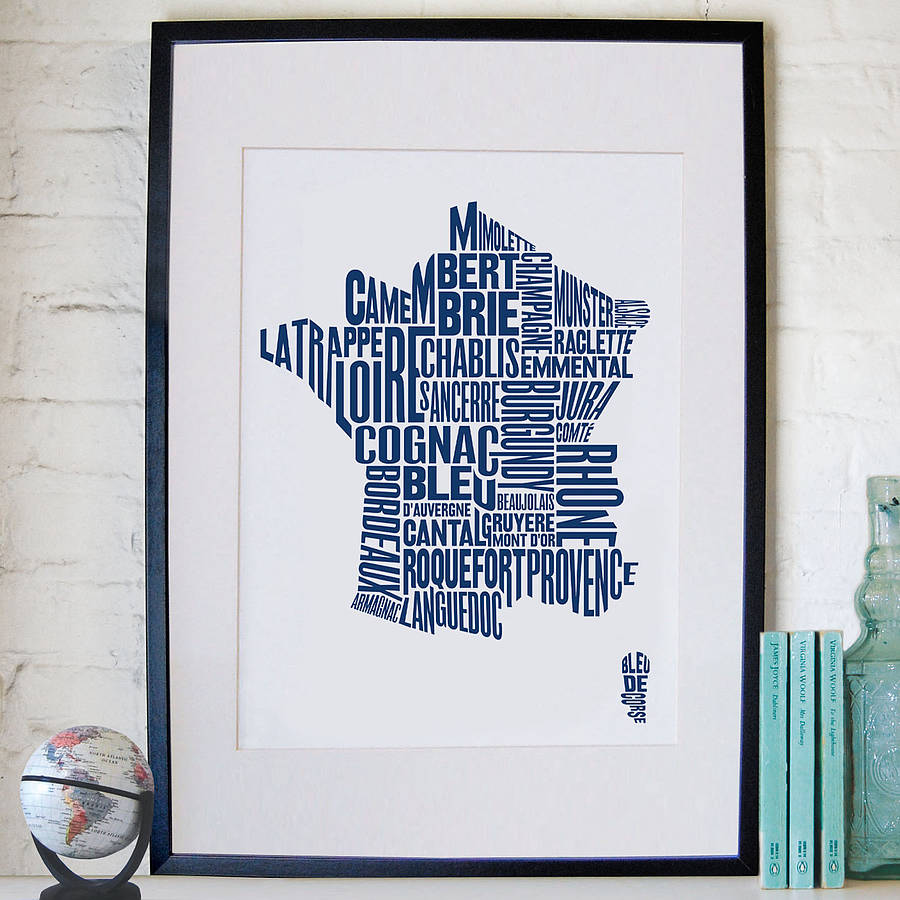 Map Of France To Print.French Cheese And Wine Map Print