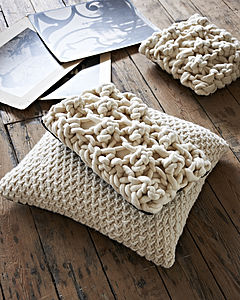 Rectangular Chunky Knit Cushion In 'Hugo' Stitch
