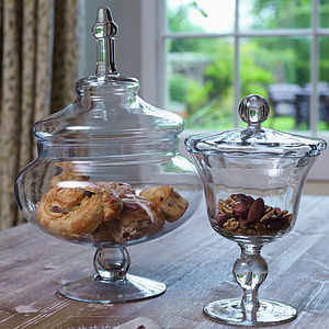 Small & Large Glass Footed Bon Bon Jars - tableware