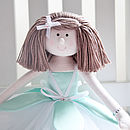mint green handmade personalised rag doll light brown hair