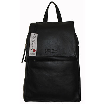 Black Handmade Natural Leather Backpack