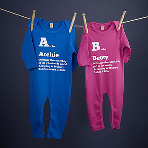 Baby Personalised 'Is For' Playsuit - gifts for babies