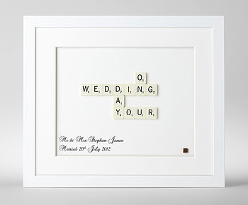 Personalised Wedding Day Scrabble Art