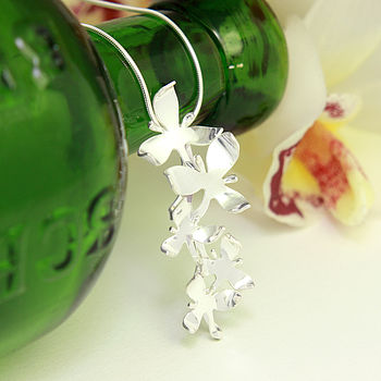 Silver Orchid Flower Pendant Necklace