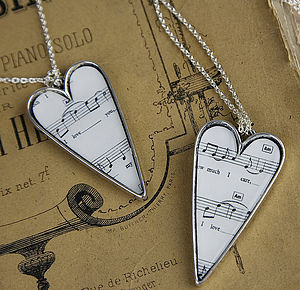 Music Love Song Pendant Necklace Heart