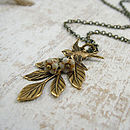 Brass Bird And Branch Necklace