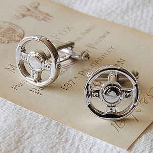 Car Steering Wheel Cufflinks - cufflinks