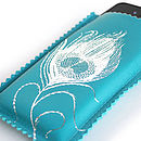 Printed Leather Feather Cover For IPhone