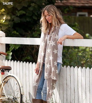 Cashmere Star Scarf - Taupe