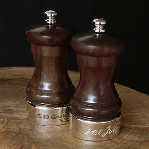 Silver And Rosewood Salt And Peppermill - salt & pepper pots